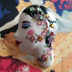 Vintage Mardi Gras face brooch Karen Thomas Stall